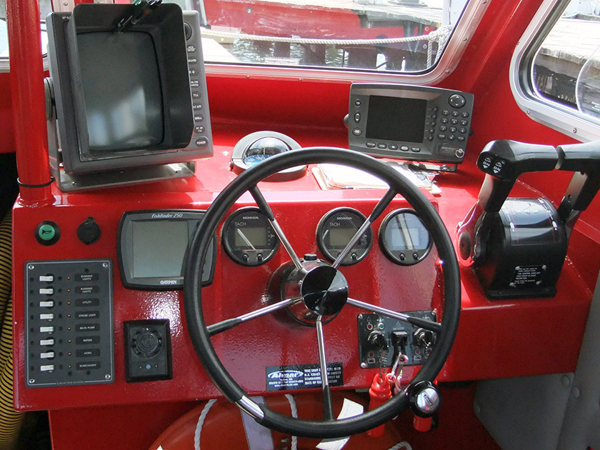 The helm of a towboat